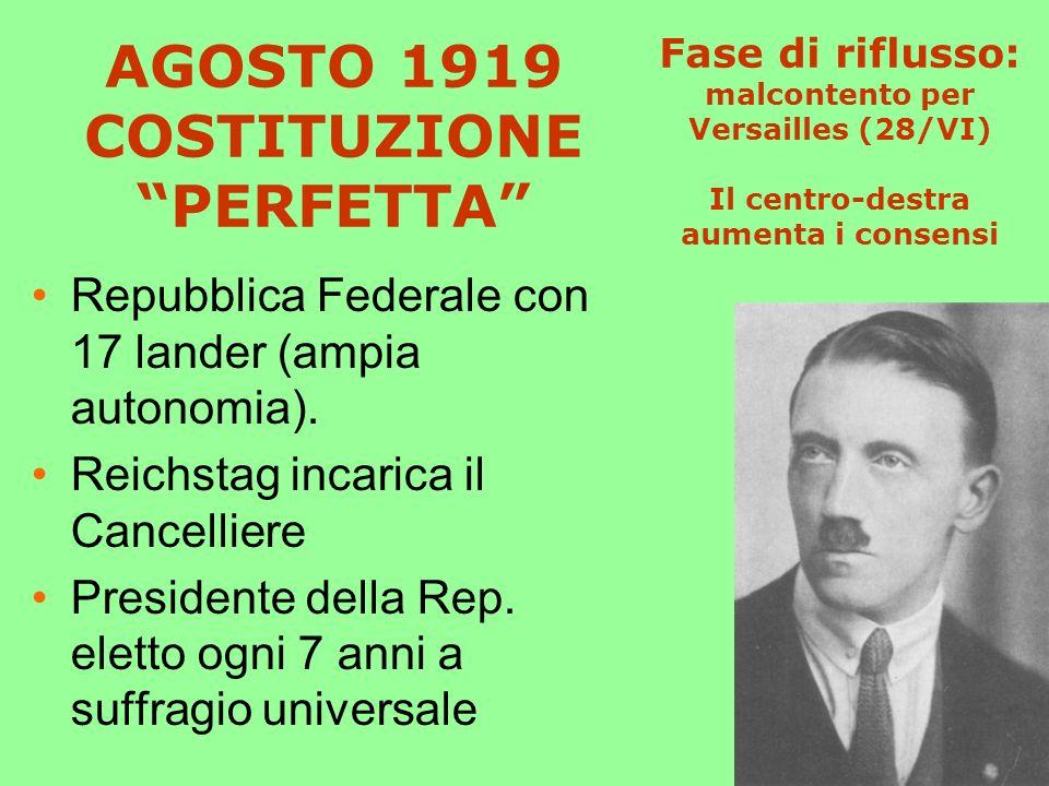 AGOSTO 1919 COSTITUZIONE PERFETTA