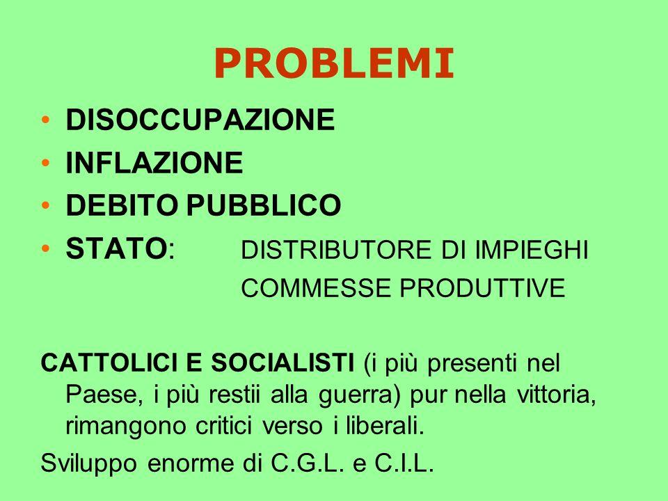 PROBLEMI DISOCCUPAZIONE INFLAZIONE DEBITO PUBBLICO