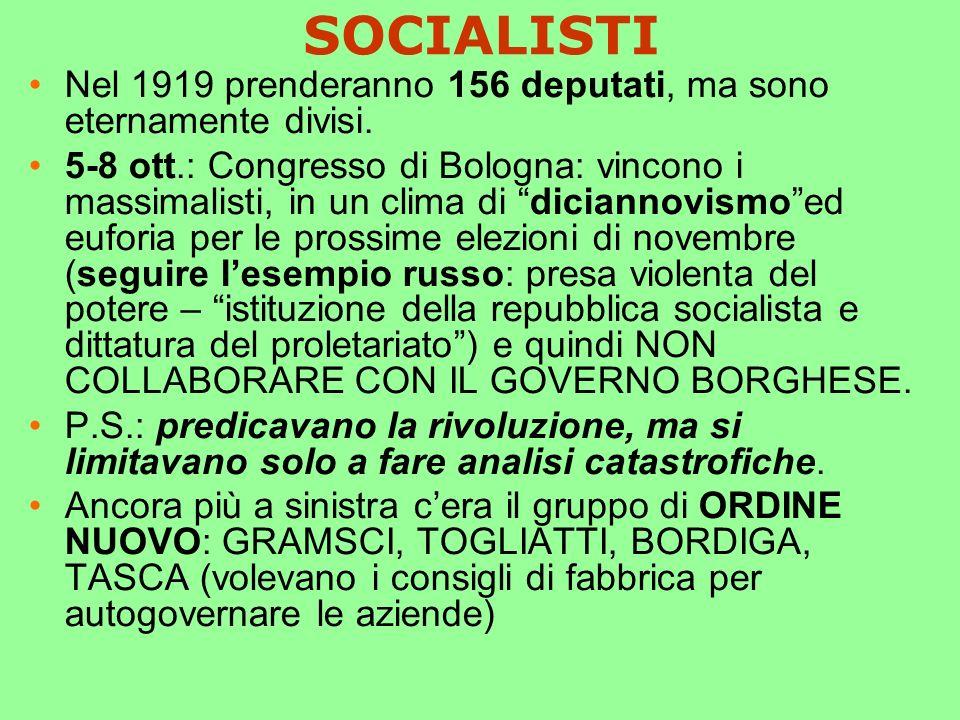 SOCIALISTI Nel 1919 prenderanno 156 deputati, ma sono eternamente divisi.