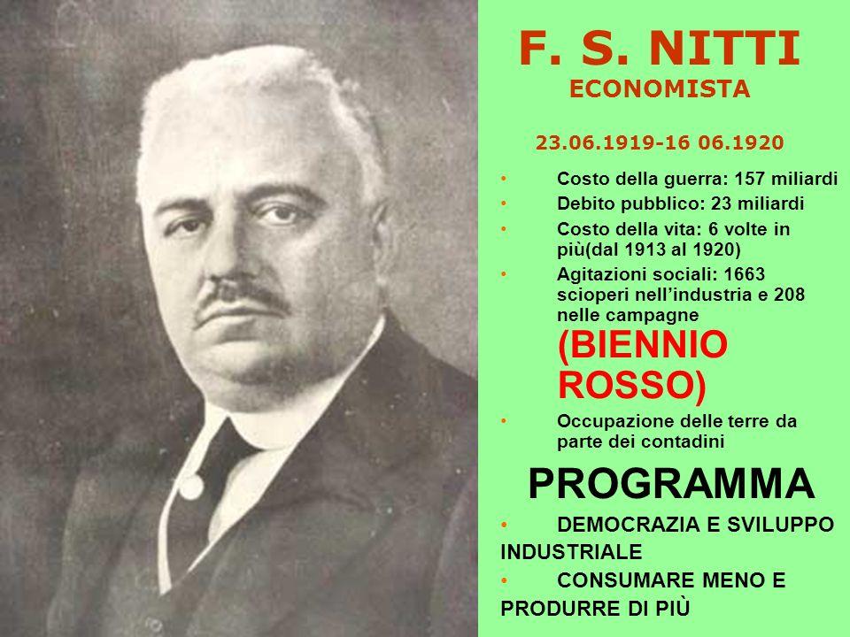 F. S. NITTI ECONOMISTA 23.06.1919-16 06.1920 PROGRAMMA