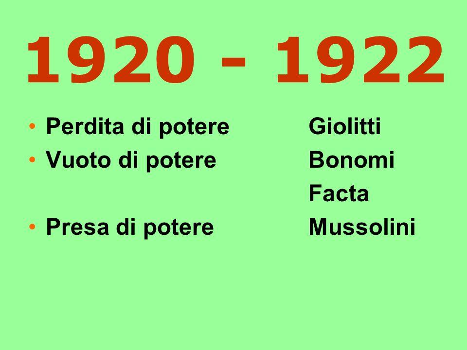1920 - 1922 Perdita di potere Giolitti Vuoto di potere Bonomi Facta
