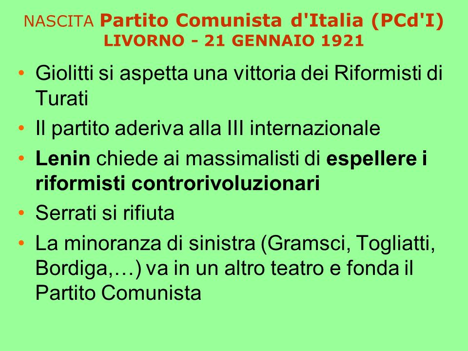 NASCITA Partito Comunista d Italia (PCd I) LIVORNO - 21 GENNAIO 1921