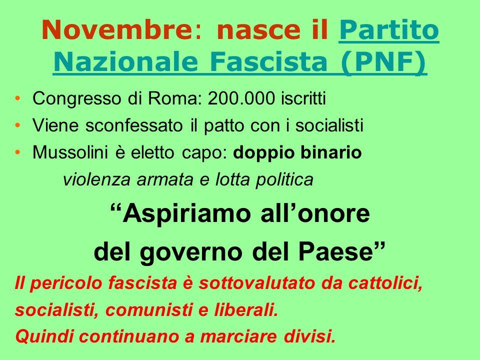 Novembre: nasce il Partito Nazionale Fascista (PNF)