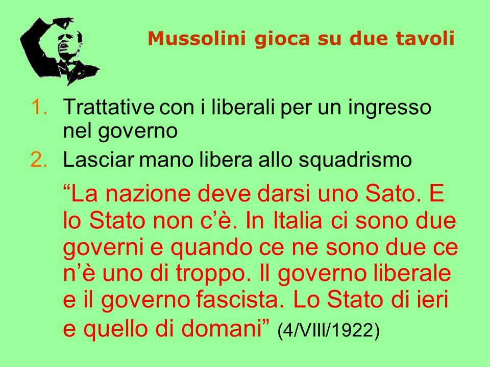 Mussolini gioca su due tavoli
