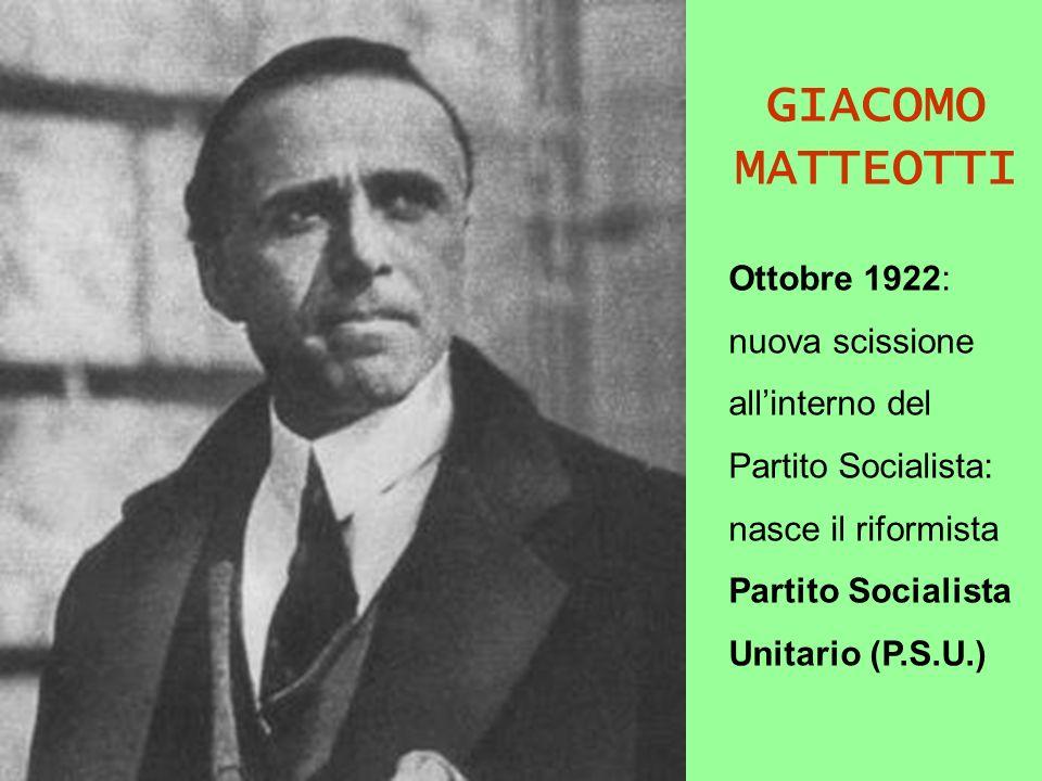 GIACOMO MATTEOTTI Ottobre 1922: nuova scissione all'interno del
