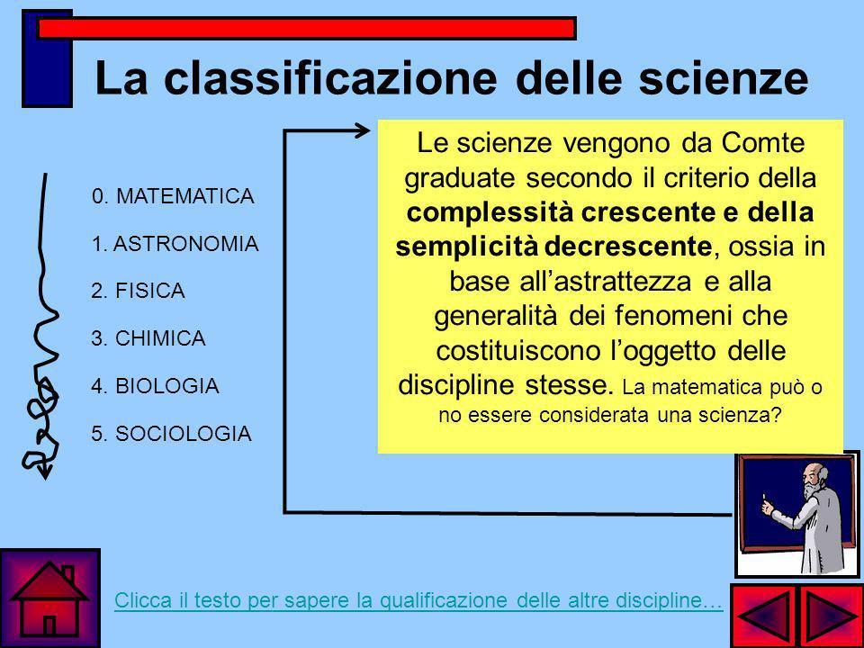 La classificazione delle scienze