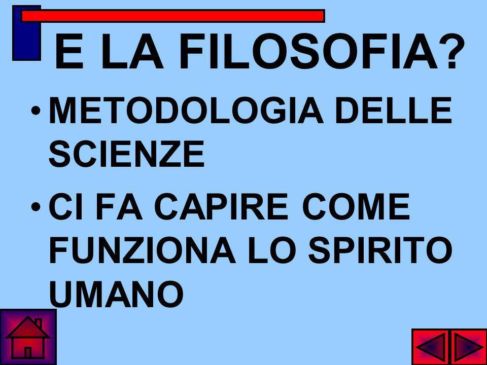 E LA FILOSOFIA METODOLOGIA DELLE SCIENZE