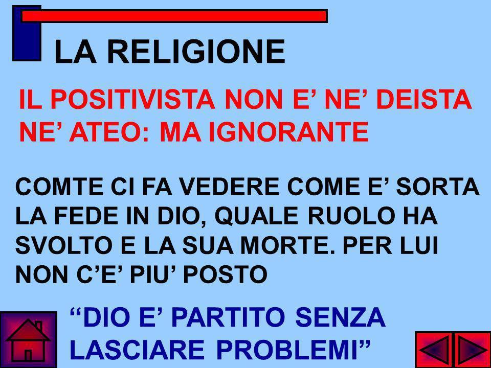 LA RELIGIONE IL POSITIVISTA NON E' NE' DEISTA NE' ATEO: MA IGNORANTE