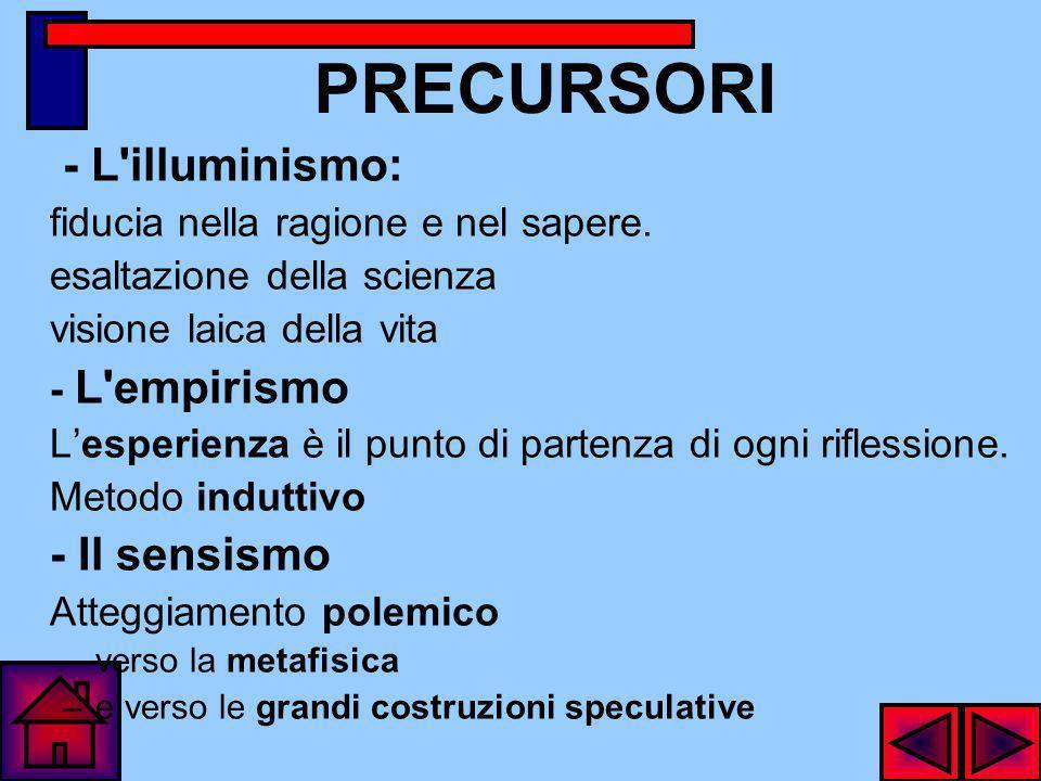 PRECURSORI - L illuminismo: - Il sensismo