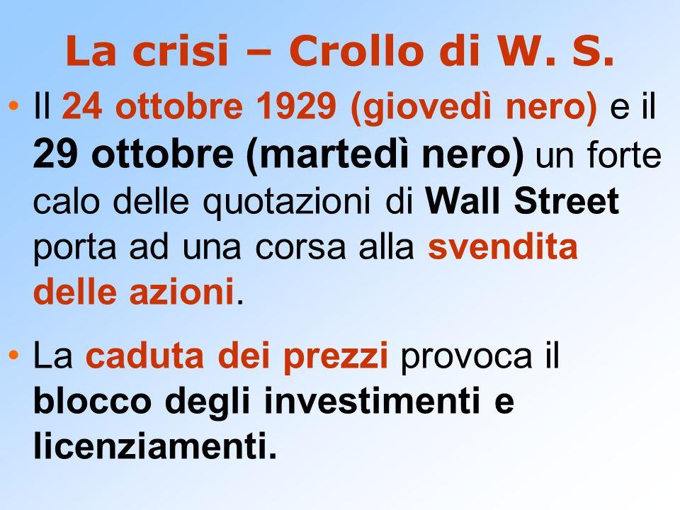 La crisi – Crollo di W. S.