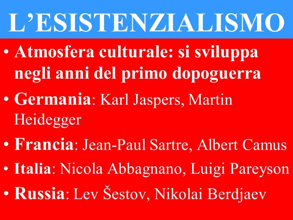 L'ESISTENZIALISMO Atmosfera culturale: si sviluppa negli anni del primo dopoguerra. Germania: Karl Jaspers, Martin Heidegger.