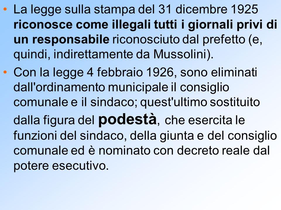 La legge sulla stampa del 31 dicembre 1925 riconosce come illegali tutti i giornali privi di un responsabile riconosciuto dal prefetto (e, quindi, indirettamente da Mussolini).