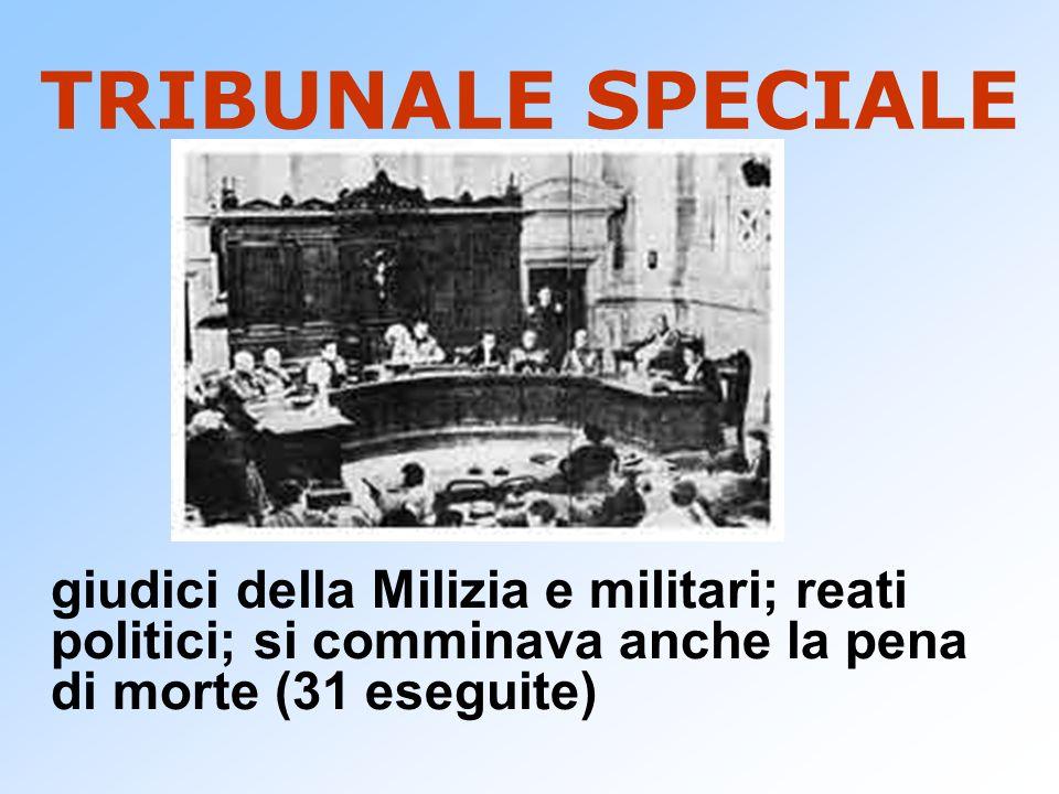 TRIBUNALE SPECIALEgiudici della Milizia e militari; reati politici; si comminava anche la pena di morte (31 eseguite)