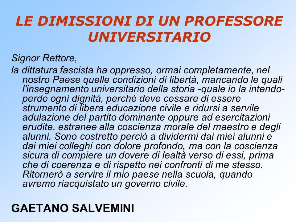LE DIMISSIONI DI UN PROFESSORE UNIVERSITARIO