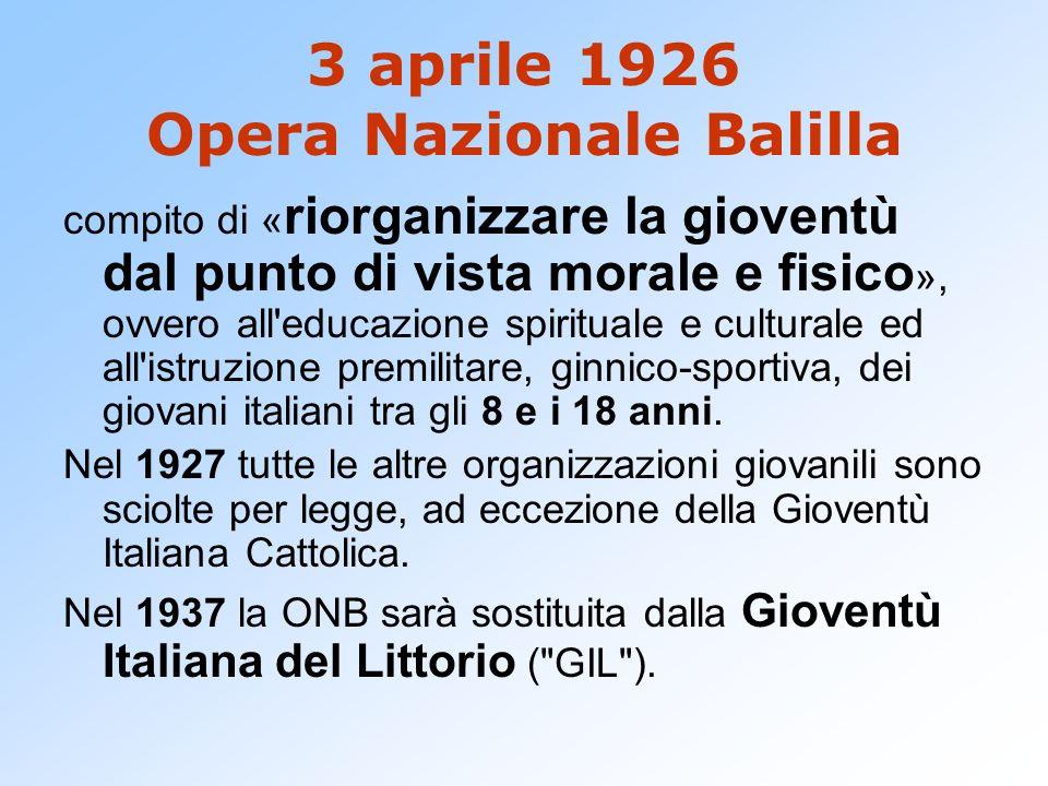 3 aprile 1926 Opera Nazionale Balilla
