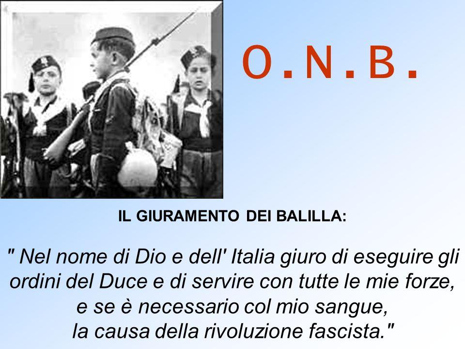 O.N.B.IL GIURAMENTO DEI BALILLA: