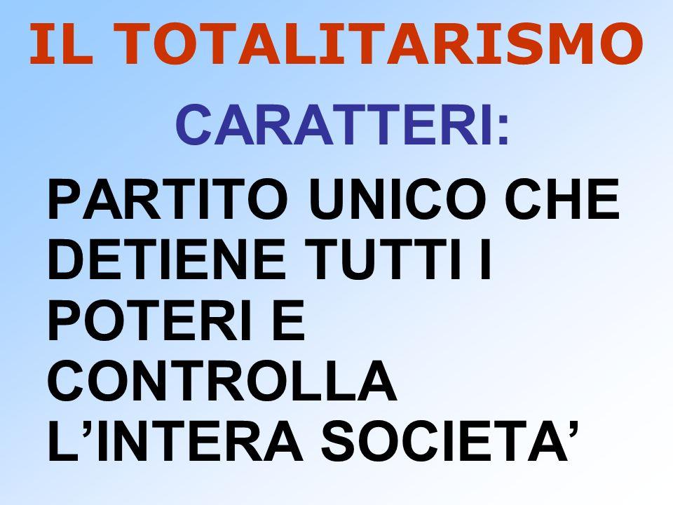 IL TOTALITARISMO CARATTERI: PARTITO UNICO CHE DETIENE TUTTI I POTERI E CONTROLLA L'INTERA SOCIETA'