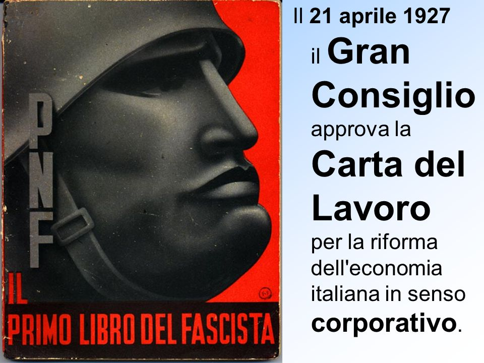 Il 21 aprile 1927 il Gran Consiglio approva la Carta del Lavoro per la riforma dell economia italiana in senso corporativo.