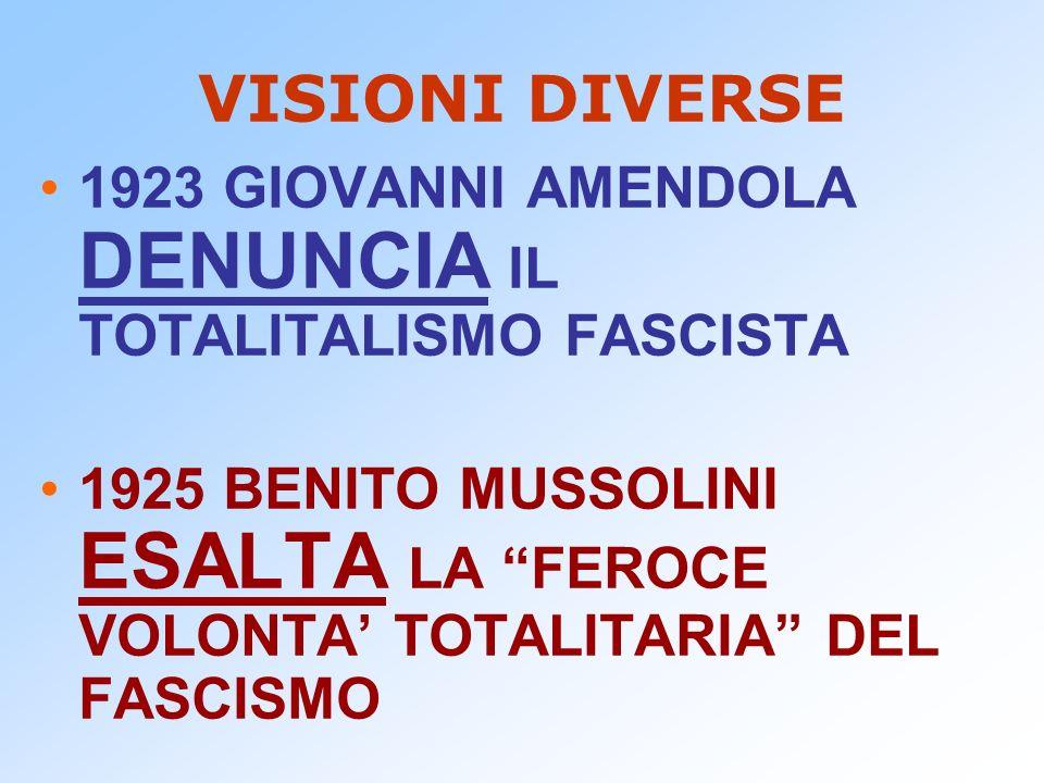 VISIONI DIVERSE 1923 GIOVANNI AMENDOLA DENUNCIA IL TOTALITALISMO FASCISTA.