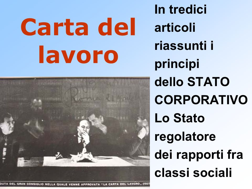Carta del lavoro In tredici articoli riassunti i principi dello STATO