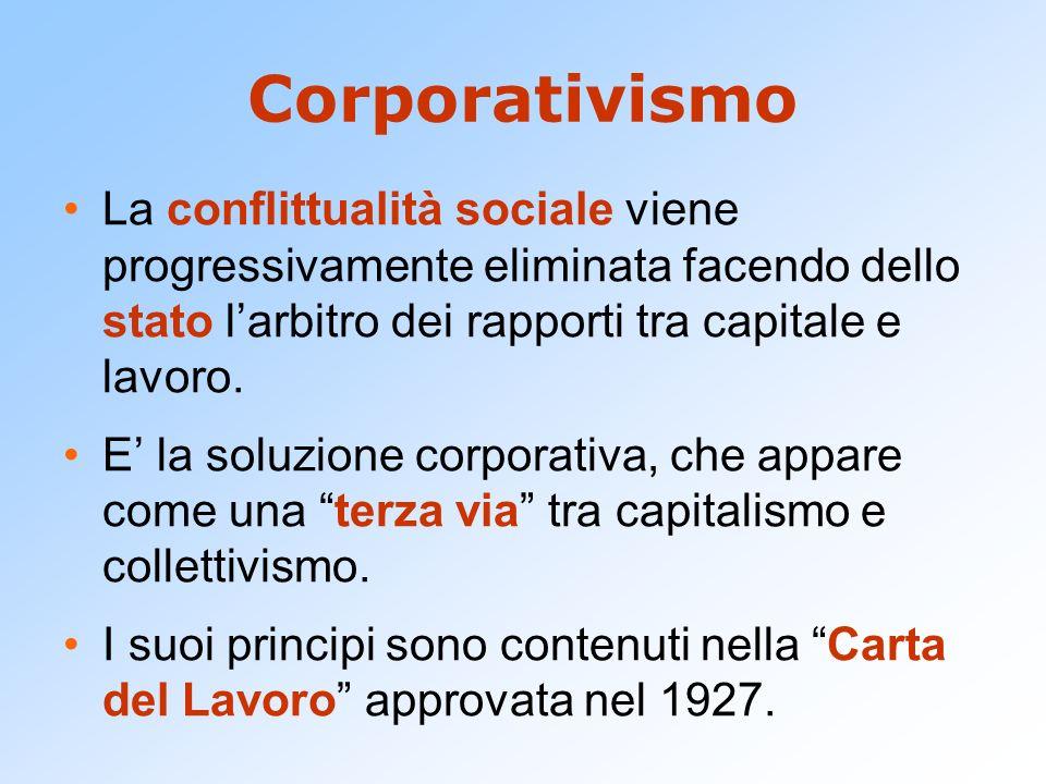 CorporativismoLa conflittualità sociale viene progressivamente eliminata facendo dello stato l'arbitro dei rapporti tra capitale e lavoro.