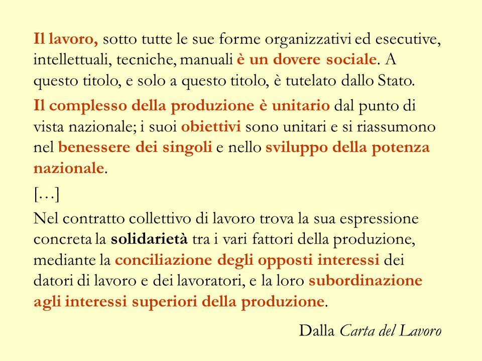 Il lavoro, sotto tutte le sue forme organizzativi ed esecutive, intellettuali, tecniche, manuali è un dovere sociale. A questo titolo, e solo a questo titolo, è tutelato dallo Stato.