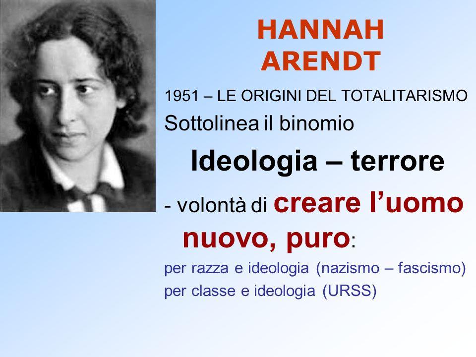 Ideologia – terrore HANNAH ARENDT Sottolinea il binomio