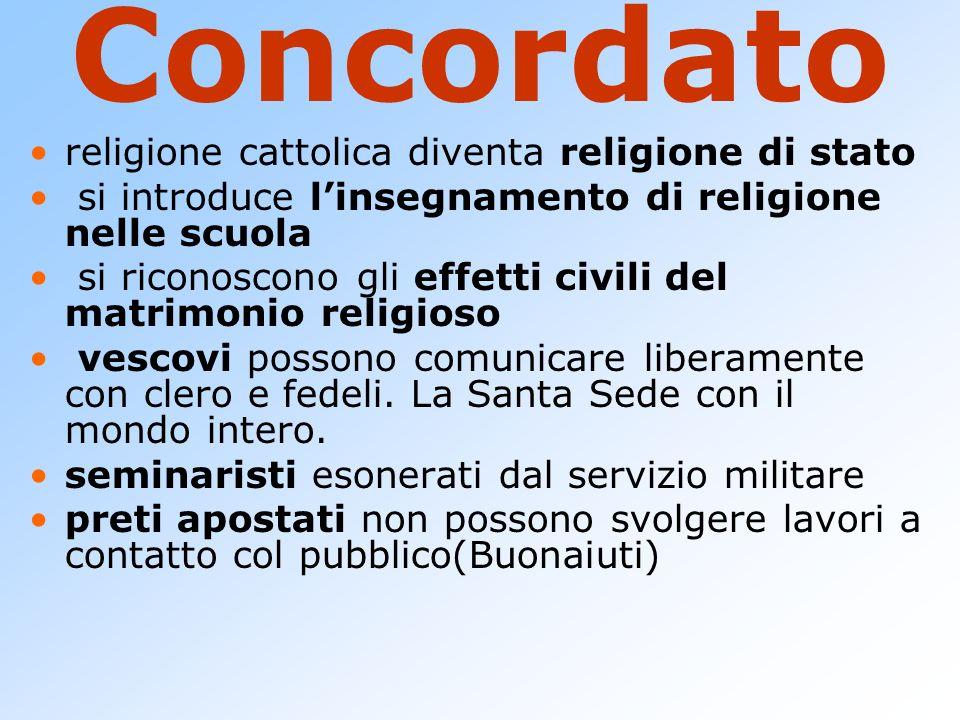 Concordato religione cattolica diventa religione di stato