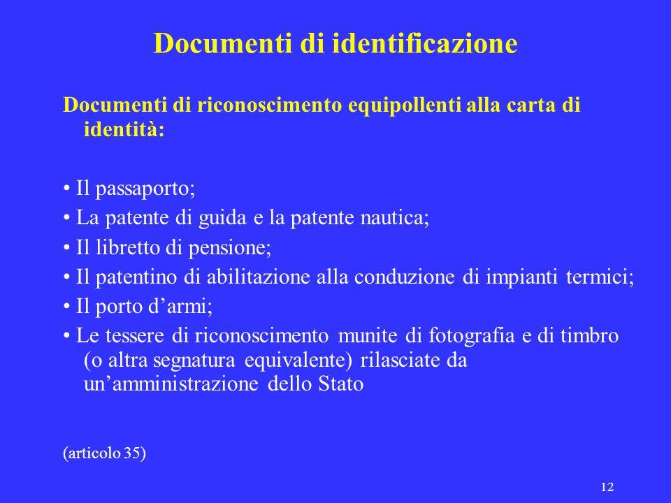 Documenti di identificazione