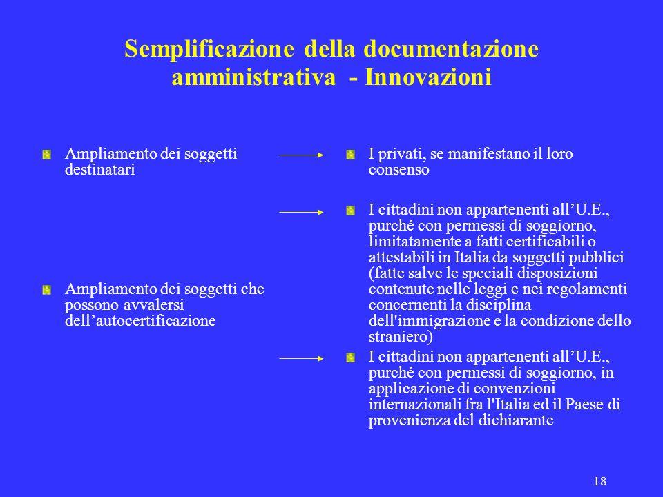 Semplificazione della documentazione amministrativa - Innovazioni