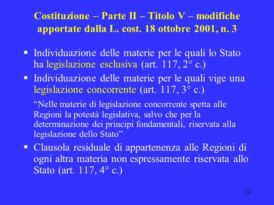 Costituzione – Parte II – Titolo V – modifiche apportate dalla L. cost