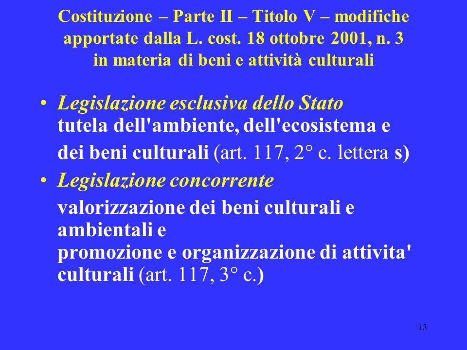 dei beni culturali (art. 117, 2° c. lettera s)