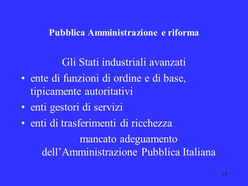 Pubblica Amministrazione e riforma