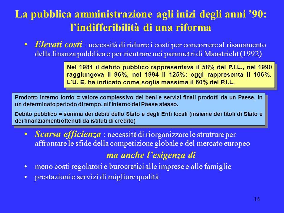 La pubblica amministrazione agli inizi degli anni '90: l'indifferibilità di una riforma
