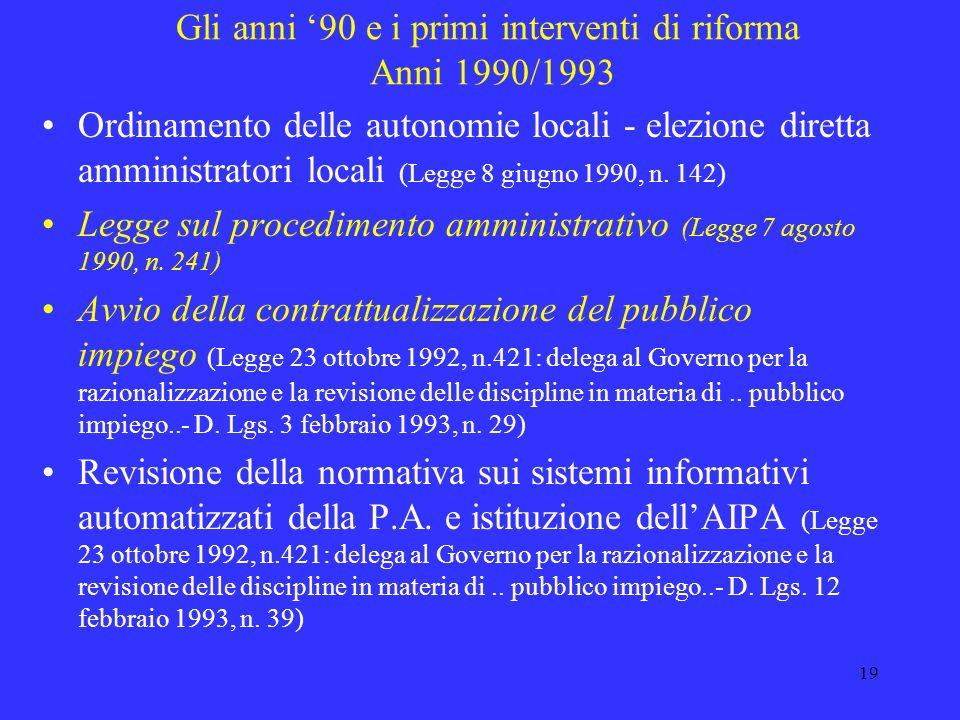 Gli anni '90 e i primi interventi di riforma Anni 1990/1993