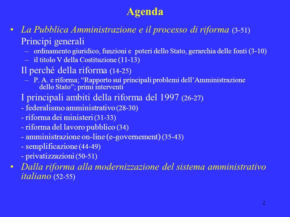 Agenda La Pubblica Amministrazione e il processo di riforma (3-51)