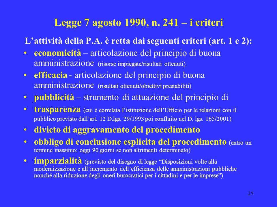 Legge 7 agosto 1990, n. 241 – i criteri