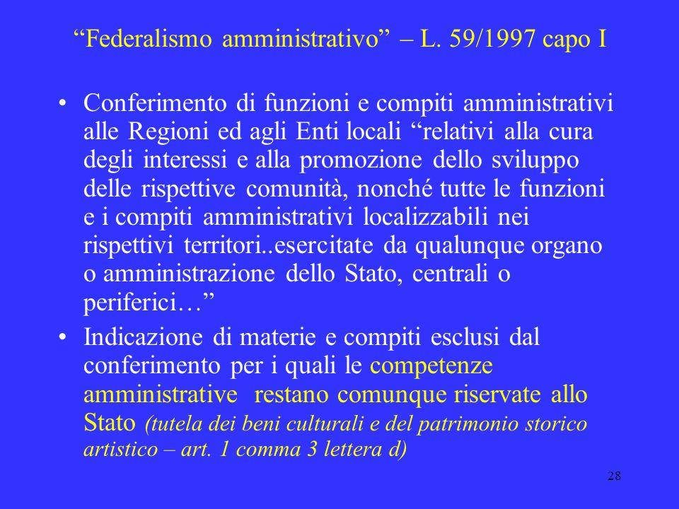 Federalismo amministrativo – L. 59/1997 capo I