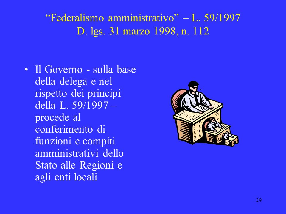 Federalismo amministrativo – L. 59/1997 D. lgs. 31 marzo 1998, n. 112
