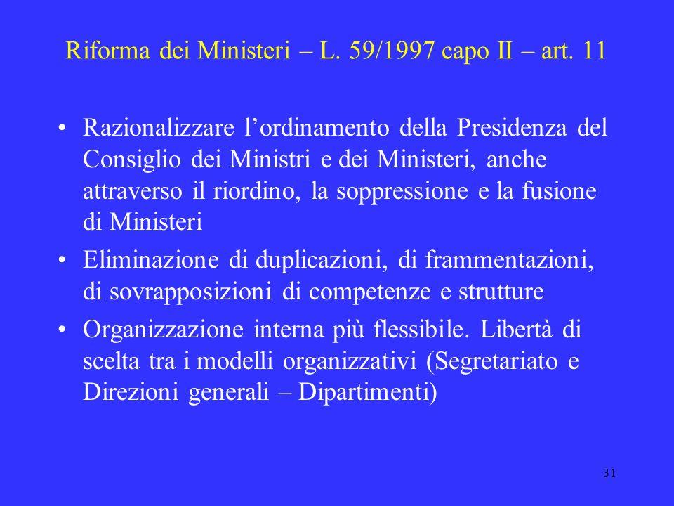 Riforma dei Ministeri – L. 59/1997 capo II – art. 11