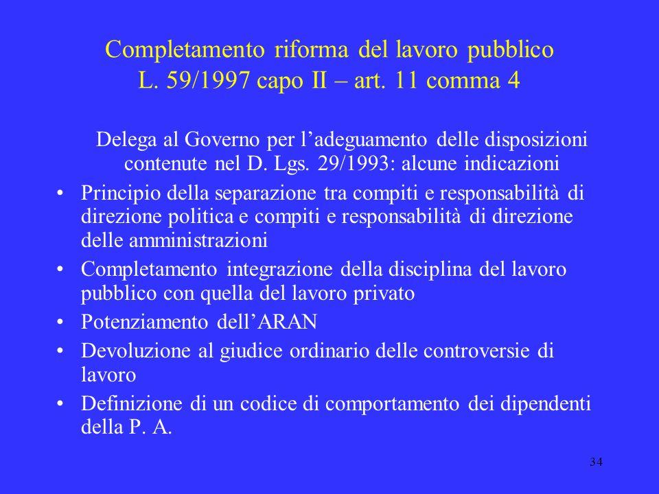 Completamento riforma del lavoro pubblico L. 59/1997 capo II – art