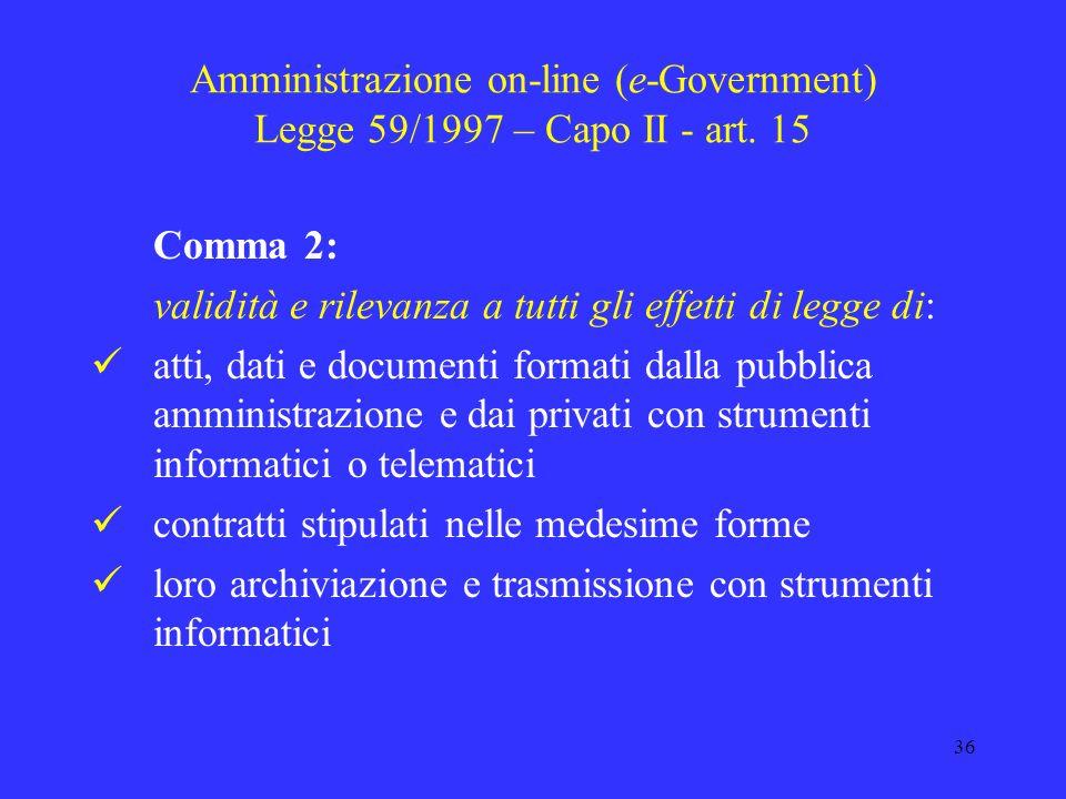 Amministrazione on-line (e-Government) Legge 59/1997 – Capo II - art