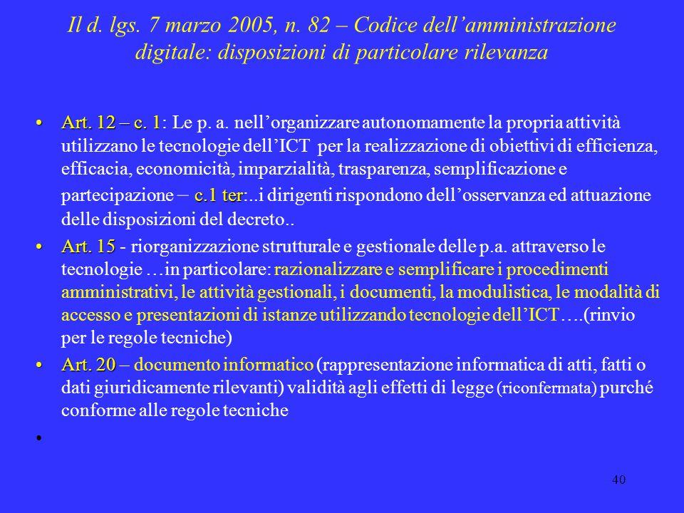 Il d. lgs. 7 marzo 2005, n. 82 – Codice dell'amministrazione digitale: disposizioni di particolare rilevanza