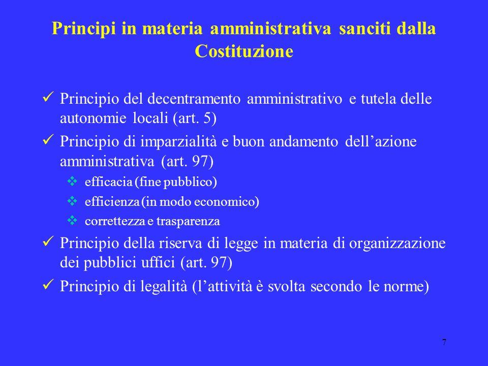 Principi in materia amministrativa sanciti dalla Costituzione