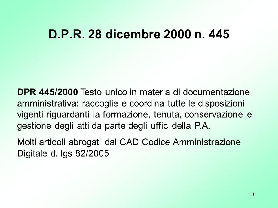 D.P.R. 28 dicembre 2000 n. 445