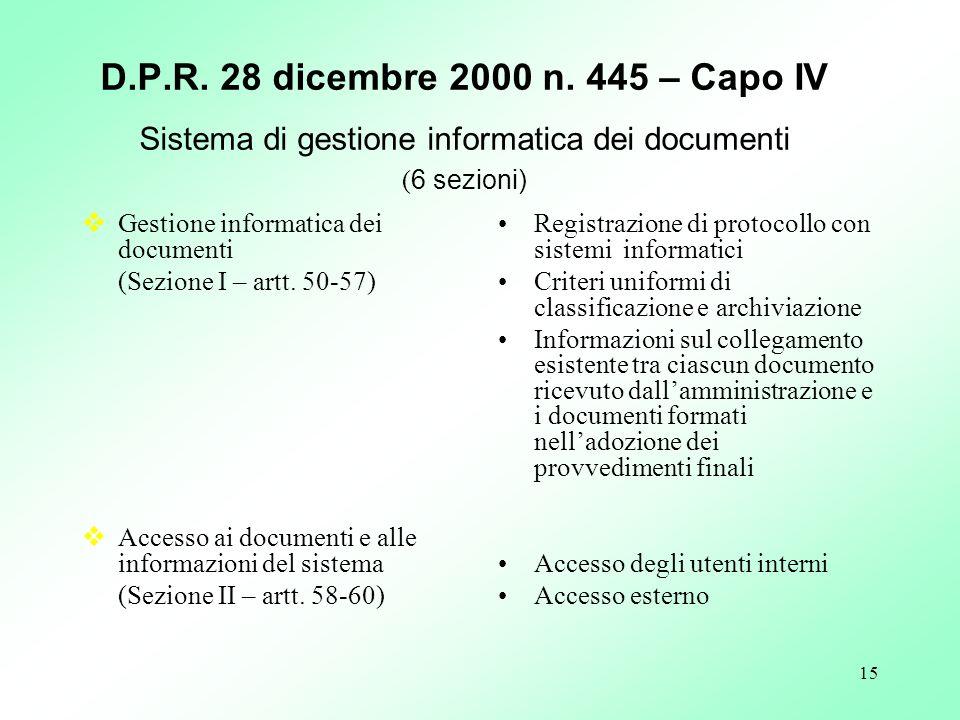 D.P.R. 28 dicembre 2000 n. 445 – Capo IV Sistema di gestione informatica dei documenti (6 sezioni)