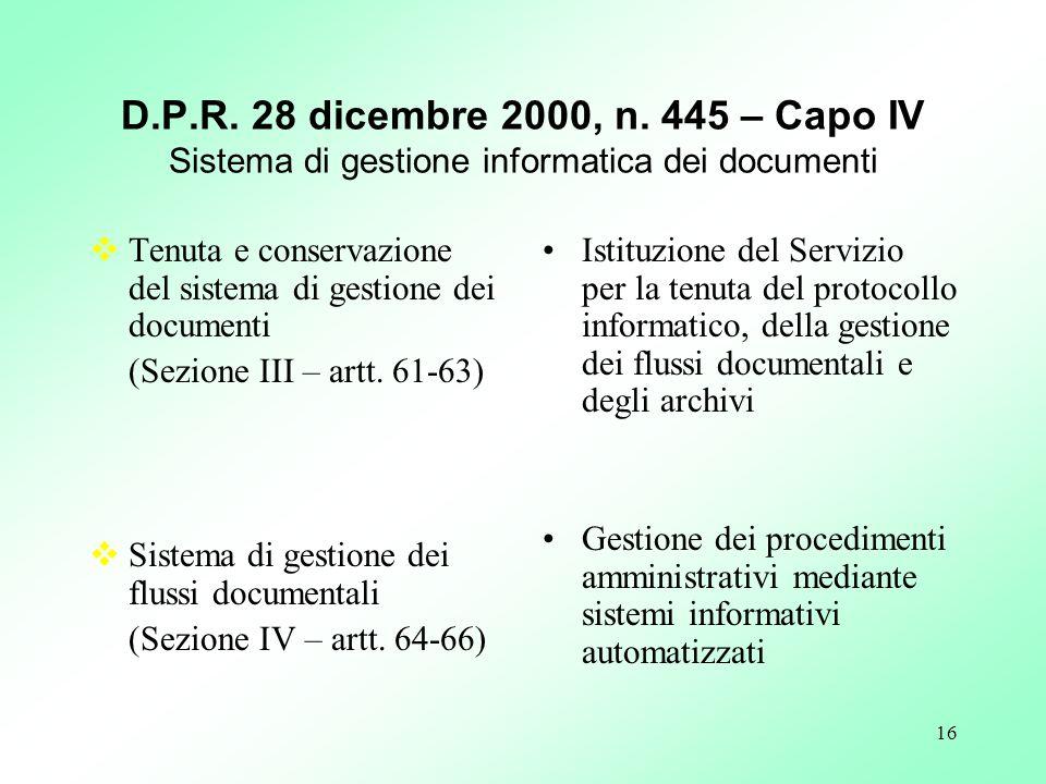 D.P.R. 28 dicembre 2000, n. 445 – Capo IV Sistema di gestione informatica dei documenti