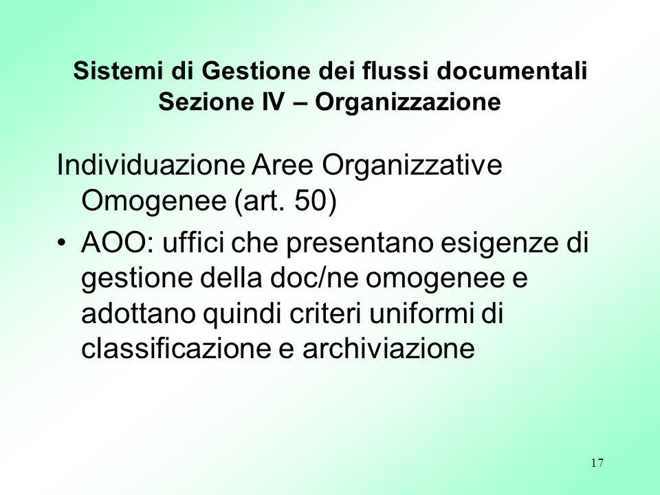 Sistemi di Gestione dei flussi documentali Sezione IV – Organizzazione