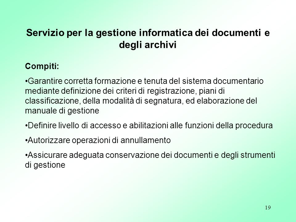 Servizio per la gestione informatica dei documenti e degli archivi