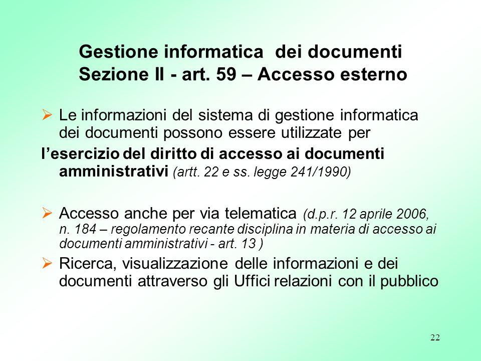 Gestione informatica dei documenti Sezione II - art